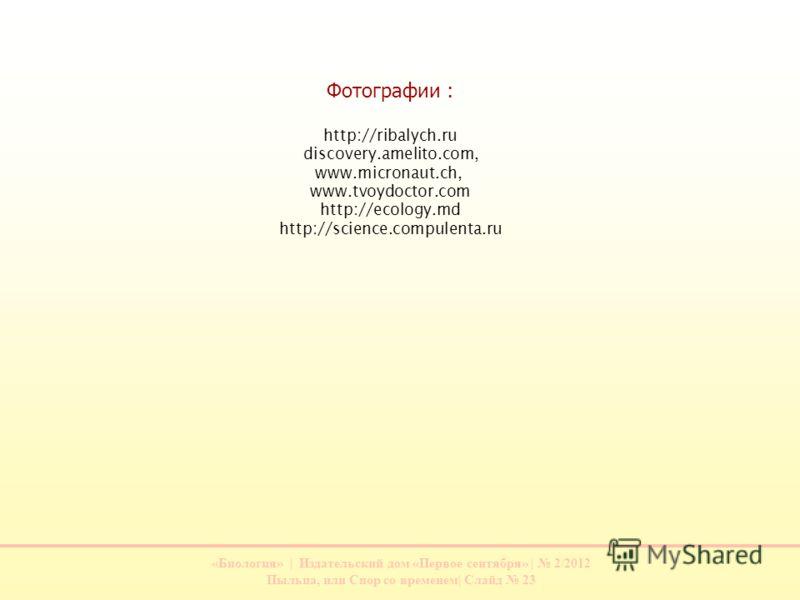 «Биология» | Издательский дом «Первое сентября» | 2/2012 Пыльца, или Спор со временем| Слайд 23 Фотографии : http://ribalych.ru discovery.amelito.com, www.micronaut.ch, www.tvoydoctor.com http://ecology.md http://science.compulenta.ru
