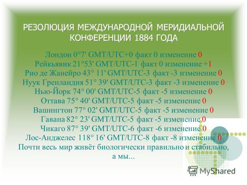 Лондон 0°7' GMT/UTC+0 факт 0 изменение 0 Рейкьявик 21°53' GMT/UTC-1 факт 0 изменение +1 Рио де Жанейро 43° 11' GMT/UTC-3 факт -3 изменение 0 Нуук Гренландия 51° 39' GMT/UTC-3 факт -3 изменение 0 Нью-Йорк 74° 00' GMT/UTC-5 факт -5 изменение 0 Оттава 7