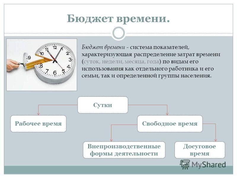 Бюджет времени. Бюджет времени - система показателей, характеризующая распределение затрат времени (суток, недели, месяца, года) по видам его использования как отдельного работника и его семьи, так и определенной группы населения. Сутки Рабочее время