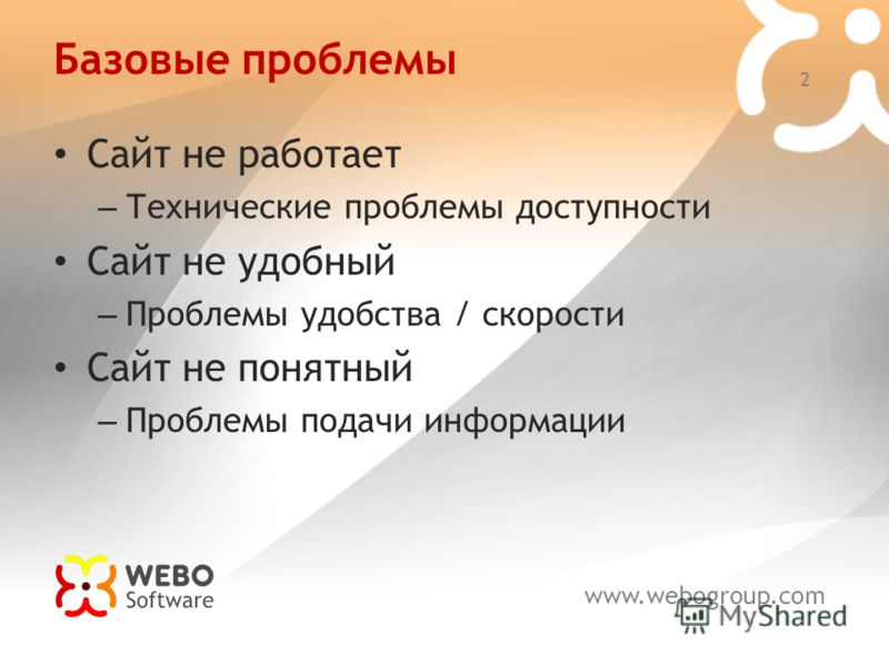 www.webogroup.com 2 Базовые проблемы Сайт не работает – Технические проблемы доступности Сайт не удобный – Проблемы удобства / скорости Сайт не понятный – Проблемы подачи информации