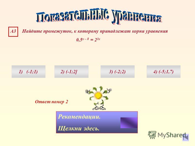 Ответ номер 2 Рекомендации. Щелкни здесь. А3 Найдите промежуток, к которому принадлежат корни уравнения 0,5 х – 8 = 2 3х 1) (-1;1)4) (-5;1,7)3) (-2;2)2) (-1;2]