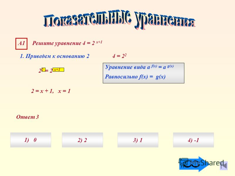 Ответ 3 А1 Решите уравнение 4 = 2 х+1 1) 04) 3) 12) 2 1. Приведем к основанию 2 4 = 2 2 2 2 = 2 х+1 Уравнение вида а f(x) = а g(x) Равносильно f(x) = g(x) 2 = х + 1, х = 1