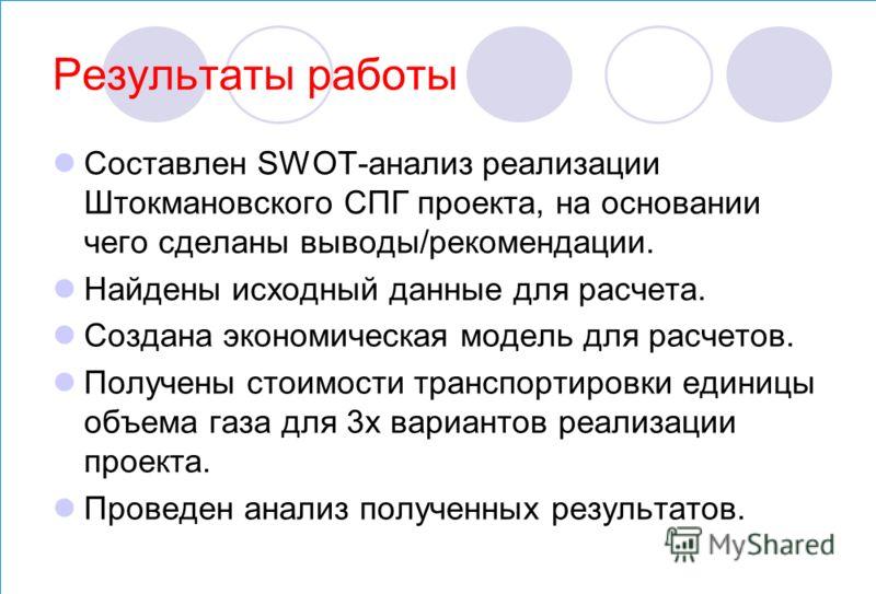 Результаты работы Составлен SWOT-анализ реализации Штокмановского СПГ проекта, на основании чего сделаны выводы/рекомендации. Найдены исходный данные для расчета. Создана экономическая модель для расчетов. Получены стоимости транспортировки единицы о