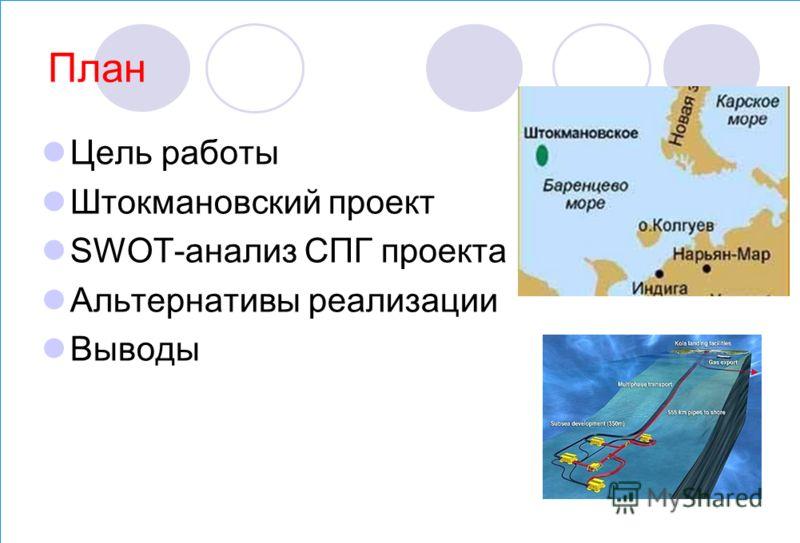 План Цель работы Штокмановский проект SWOT-анализ СПГ проекта Альтернативы реализации Выводы