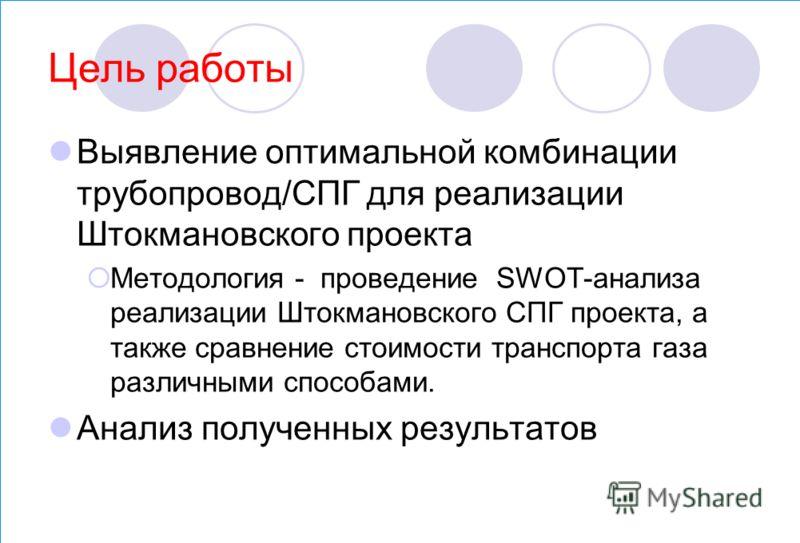 Цель работы Выявление оптимальной комбинации трубопровод/СПГ для реализации Штокмановского проекта Методология - проведение SWOT-анализа реализации Штокмановского СПГ проекта, а также сравнение стоимости транспорта газа различными способами. Анализ п