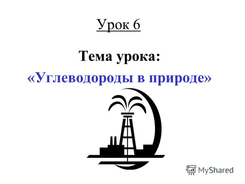 Урок 6 Тема урока: «Углеводороды в природе»
