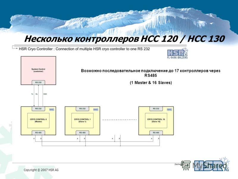 Copyright © 2007 HSR AG Несколько контроллеров HCC 120 / HCC 130 Возможно последовательное подключение до 17 контроллеров через RS485 (1 Master & 16 Slaves)