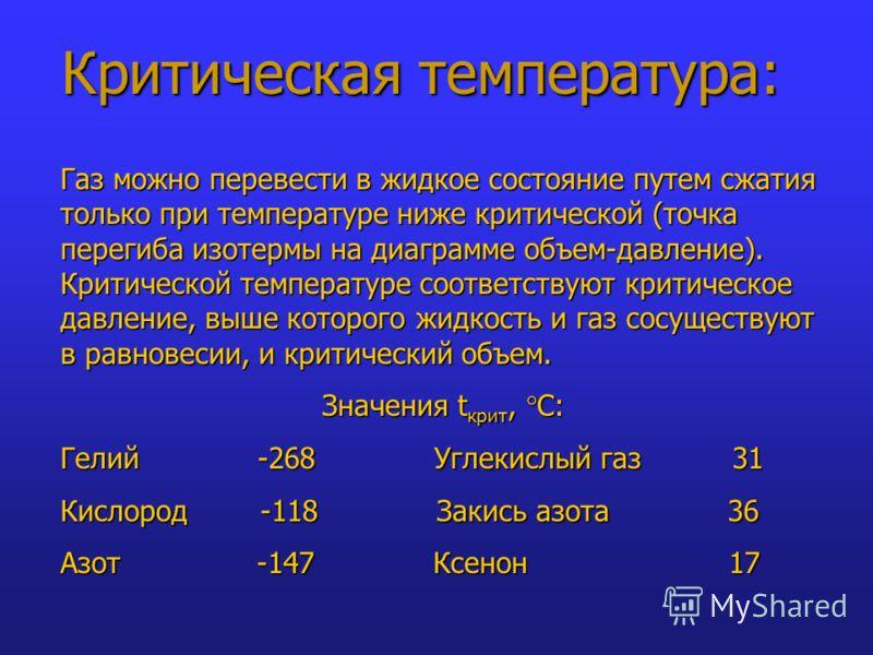 Критическая температура: Газ можно перевести в жидкое состояние путем сжатия только при температуре ниже критической (точка перегиба изотермы на диаграмме объем-давление). Критической температуре соответствуют критическое давление, выше которого жидк