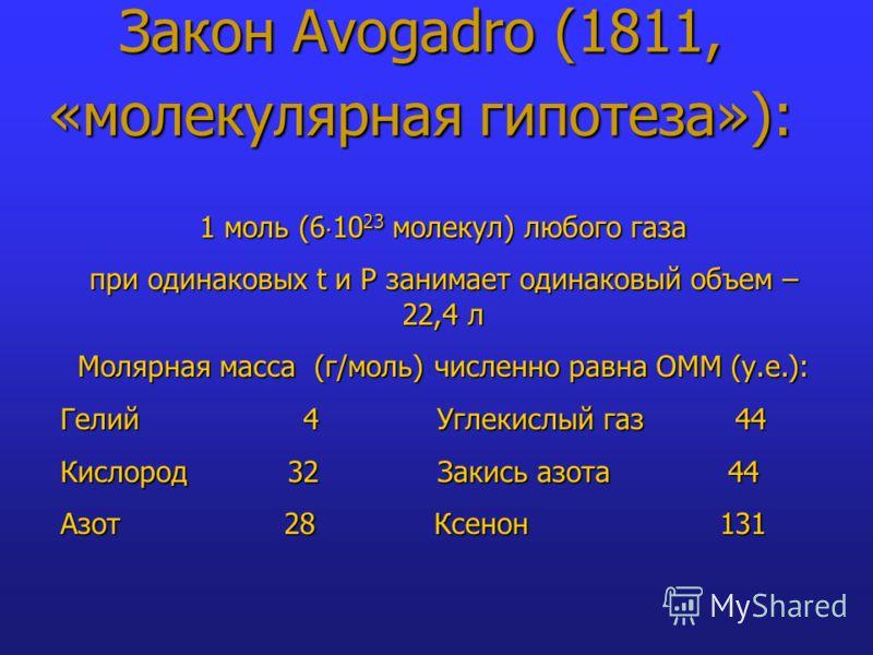 Закон Avogadro (1811, «молекулярная гипотеза»): 1 моль (6 10 23 молекул) любого газа при одинаковых t и Р занимает одинаковый объем – 22,4 л Молярная масса (г/моль) численно равна ОММ (у.е.): Гелий 4 Углекислый газ 44 Кислород 32 Закись азота 44 Азот