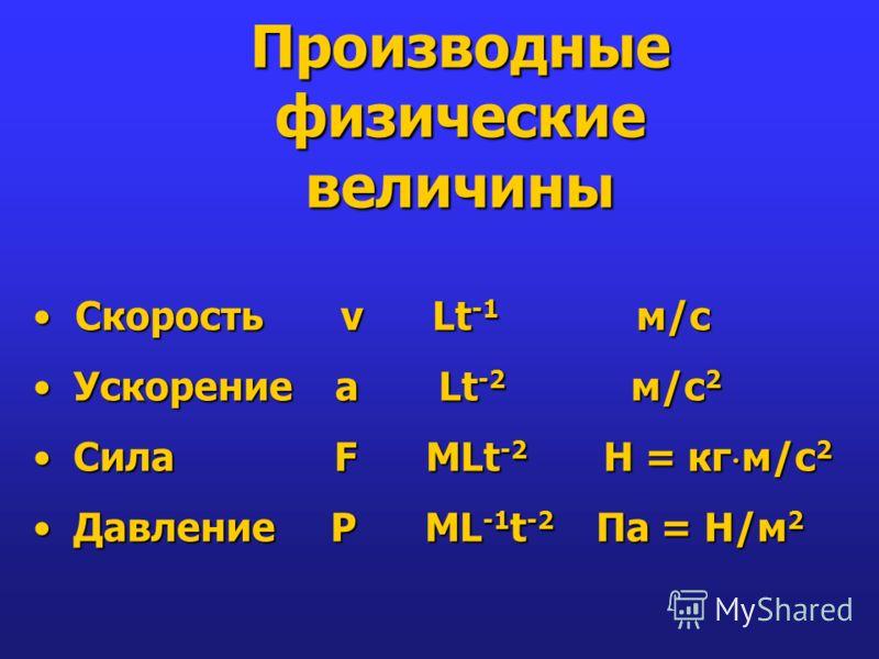 Производные физические величины Скорость v Lt -1 м/с Скорость v Lt -1 м/с Ускорение a Lt -2 м/с 2 Ускорение a Lt -2 м/с 2 Сила F MLt -2 Н = кг м/с 2 Сила F MLt -2 Н = кг м/с 2 Давление P ML -1 t -2 Па = Н/м 2 Давление P ML -1 t -2 Па = Н/м 2