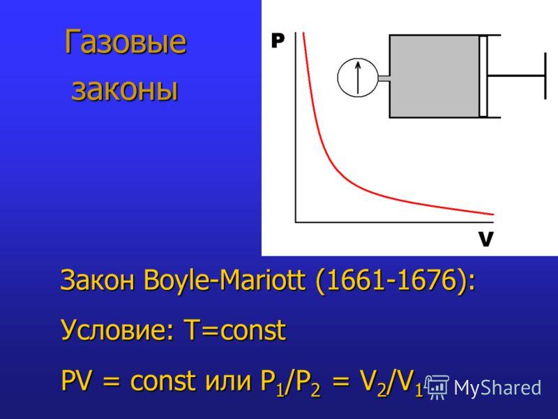 Газовые законы Закон Boyle-Mariott (1661-1676): Условие: T=const PV = const или P 1 /P 2 = V 2 /V 1
