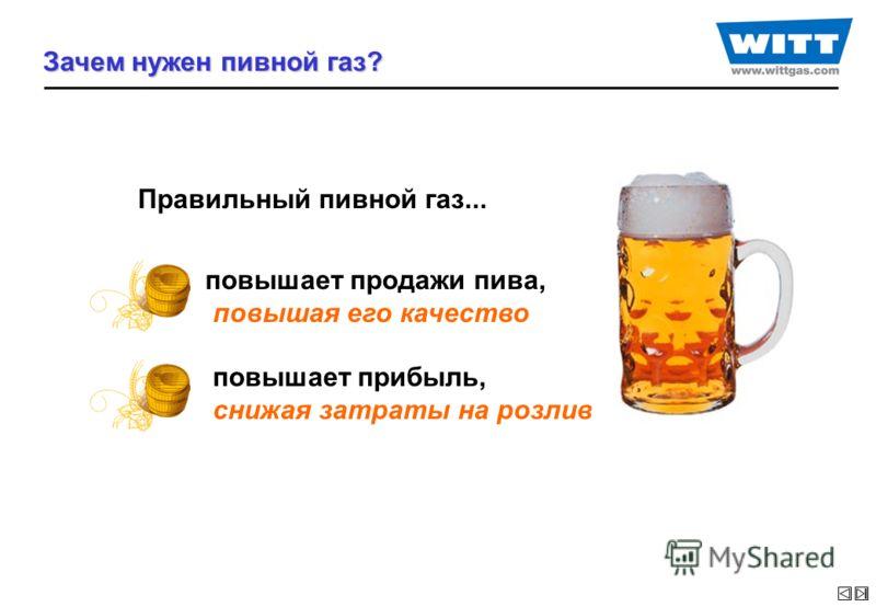 Зачем нужен пивной газ? Правильный пивной газ... повышает продажи пива, повышая его качество повышает прибыль, снижая затраты на розлив