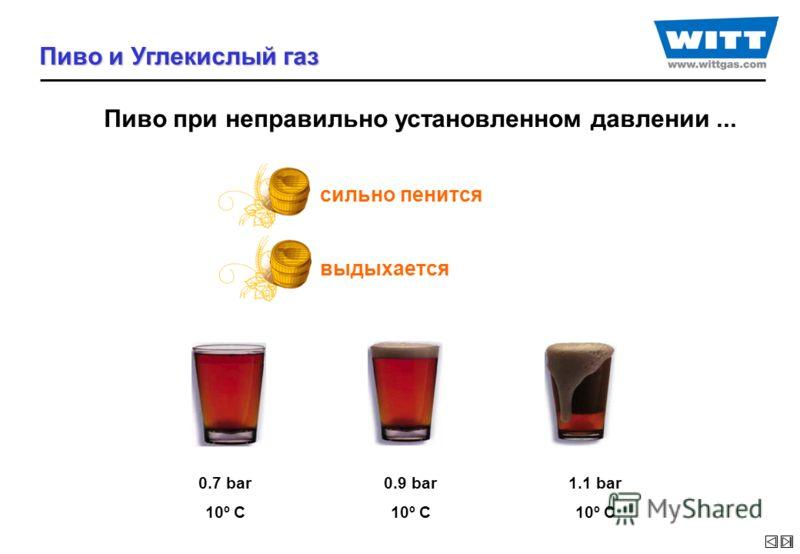 Пиво при неправильно установленном давлении... сильно пенится выдыхается 0.7 bar 10º C 0.9 bar 10º C 1.1 bar 10º C Пиво и Углекислый газ