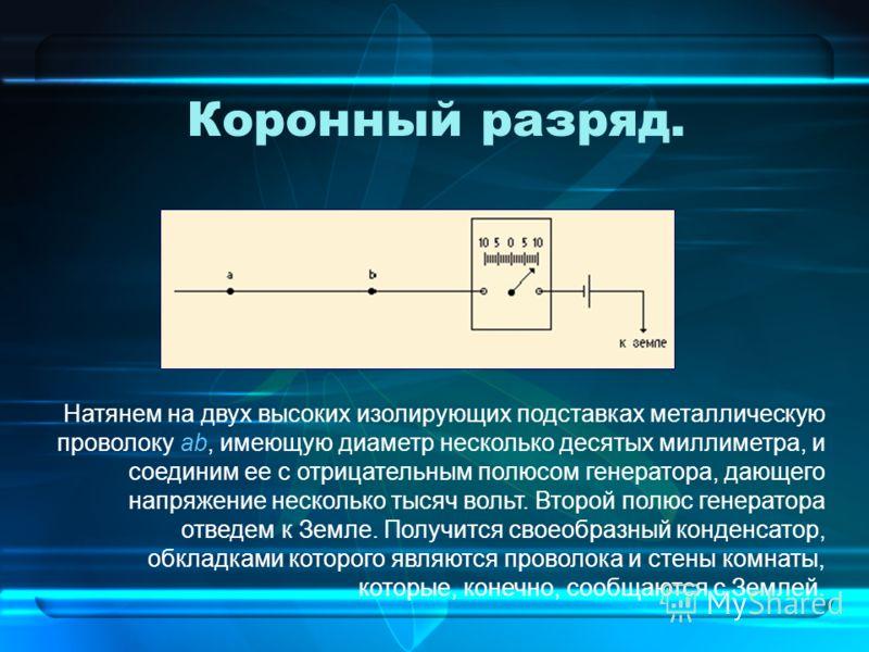 Коронный разряд. Натянем на двух высоких изолирующих подставках металлическую проволоку ab, имеющую диаметр несколько десятых миллиметра, и соединим ее с отрицательным полюсом генератора, дающего напряжение несколько тысяч вольт. Второй полюс генерат