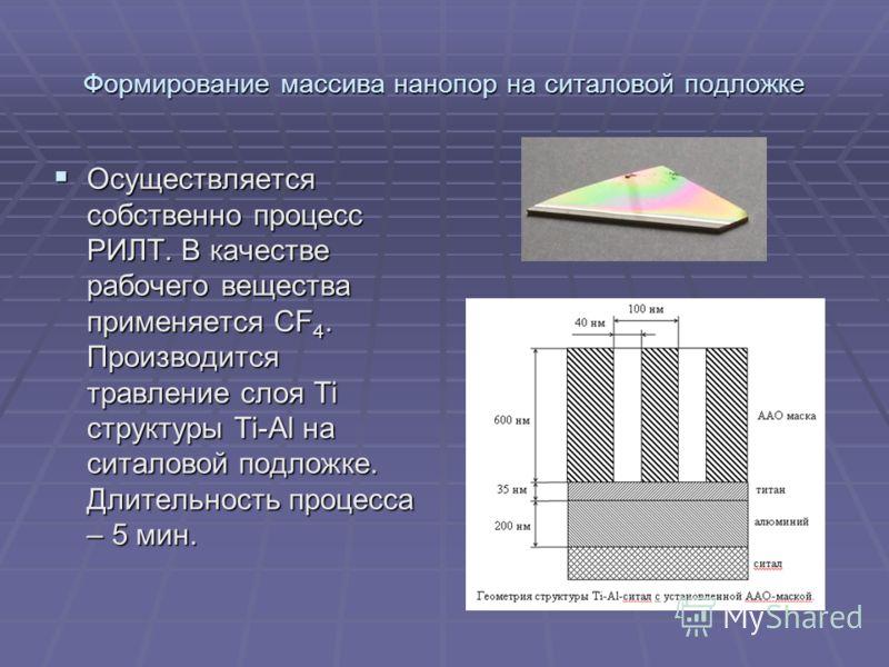 Формирование массива нанопор на ситаловой подложке Осуществляется собственно процесс РИЛТ. В качестве рабочего вещества применяется CF 4. Производится травление слоя Ti структуры Ti-Al на ситаловой подложке. Длительность процесса – 5 мин. Осуществляе