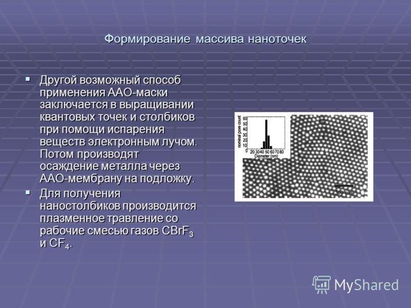 Формирование массива наноточек Другой возможный способ применения ААО-маски заключается в выращивании квантовых точек и столбиков при помощи испарения веществ электронным лучом. Потом производят осаждение металла через ААО-мембрану на подложку. Друго