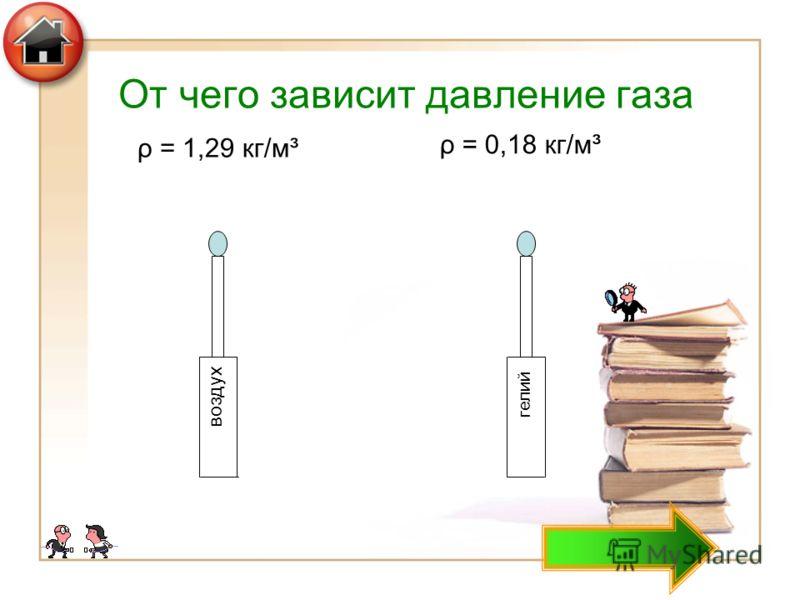 От чего зависит давление газа воздух гелий ρ = 1,29 кг/м³ ρ = 0,18 кг/м³