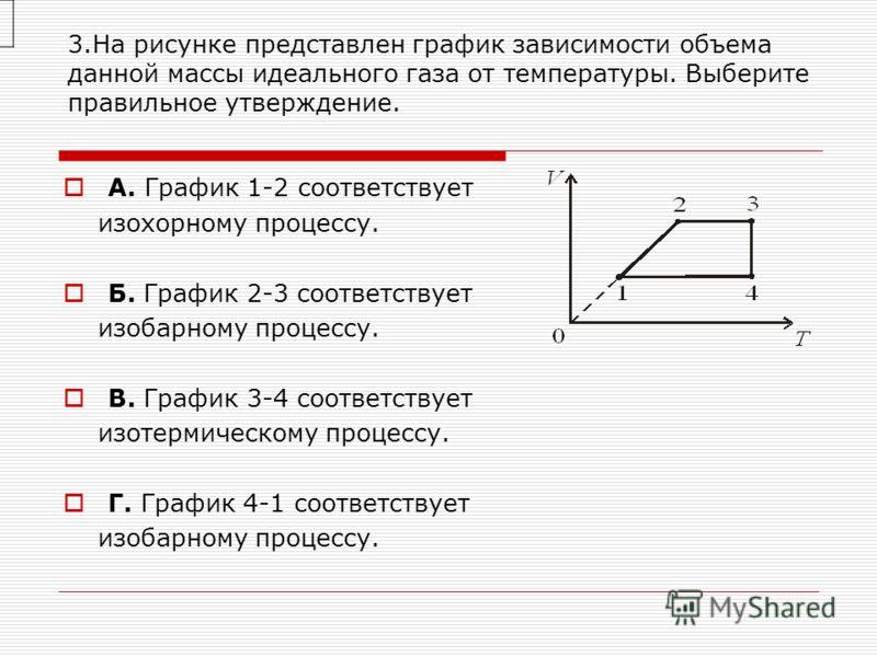 3.На рисунке представлен график зависимости объема данной массы идеального газа от температуры. Выберите правильное утверждение. А. График 1-2 соответствует изохорному процессу. Б. График 2-3 соответствует изобарному процессу. В. График 3-4 соответ