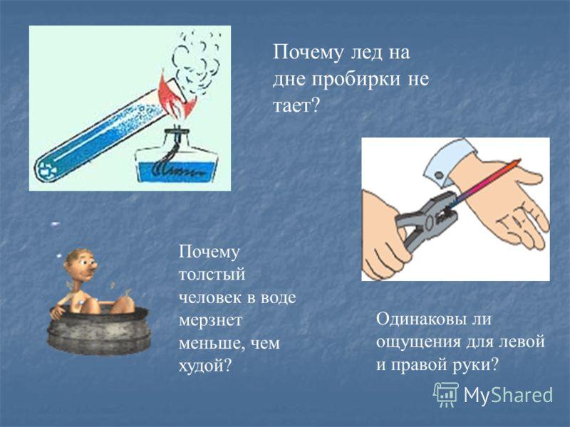 Почему лед на дне пробирки не тает? Почему толстый человек в воде мерзнет меньше, чем худой? Одинаковы ли ощущения для левой и правой руки?