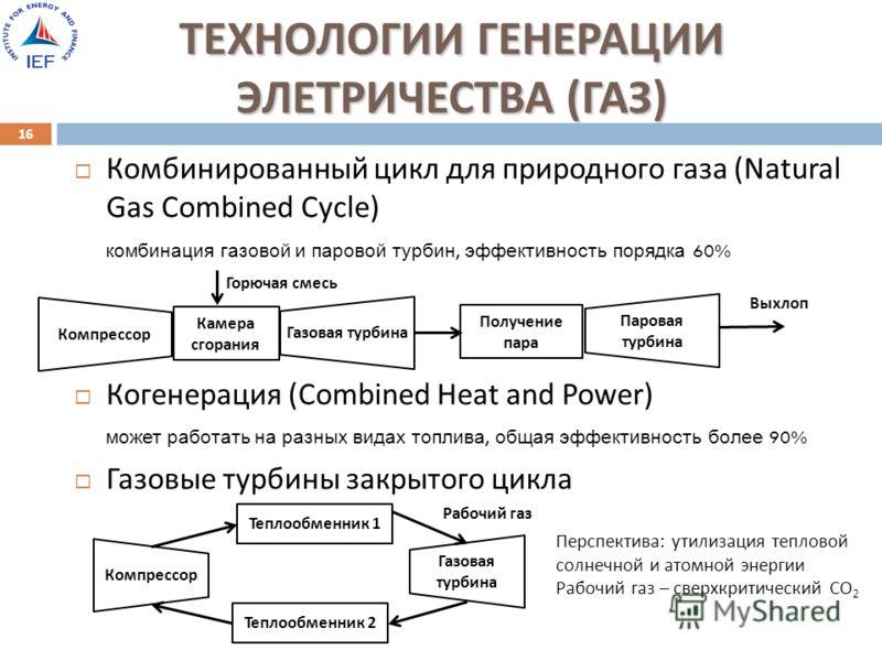 ТЕХНОЛОГИИ ГЕНЕРАЦИИ ЭЛЕТРИЧЕСТВА ( ГАЗ ) Комбинированный цикл для природного газа (Natural Gas Combined Cycle) комбинация газовой и паровой турбин, эффективность порядка 60% Когенерация ( Combined Heat and Power ) может работать на разных видах топл
