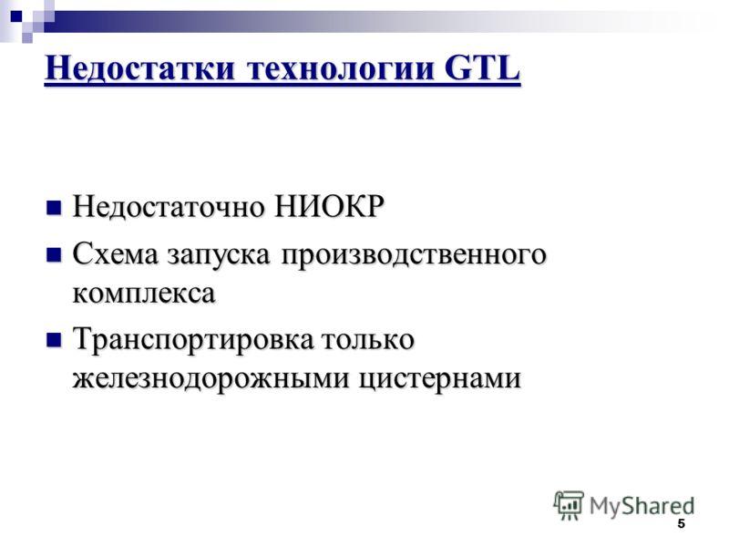 5 Недостатки технологии GTL Недостаточно НИОКР Недостаточно НИОКР Схема запуска производственного комплекса Схема запуска производственного комплекса Транспортировка только железнодорожными цистернами Транспортировка только железнодорожными цистернам