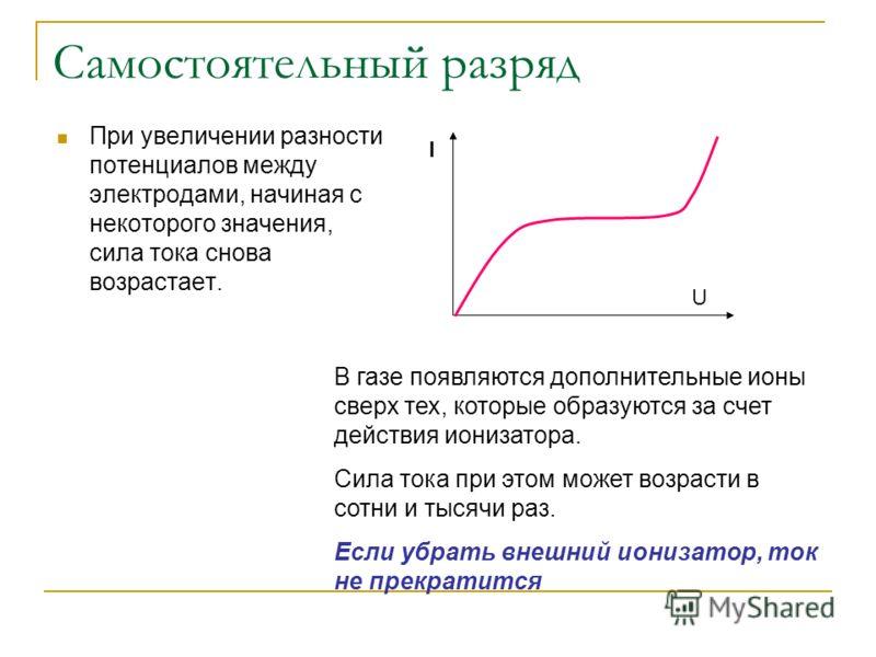 Самостоятельный разряд При увеличении разности потенциалов между электродами, начиная с некоторого значения, сила тока снова возрастает. I U В газе появляются дополнительные ионы сверх тех, которые образуются за счет действия ионизатора. Сила тока пр