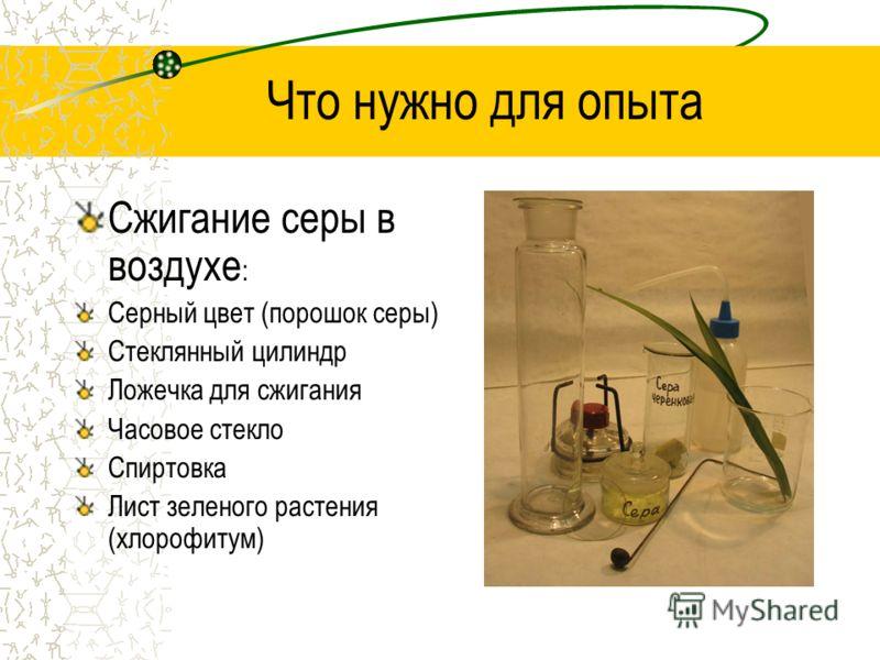 Что нужно для опыта Сжигание серы в воздухе : Серный цвет (порошок серы) Стеклянный цилиндр Ложечка для сжигания Часовое стекло Спиртовка Лист зеленого растения (хлорофитум)