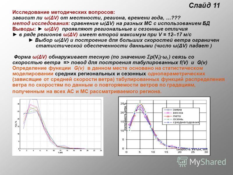 Слайд 11 Исследование методических вопросов: зависит ли ω(ΔV) от местности, региона, времени года, …??? метод исследования: сравнение ω(ΔV) на разных МС с использованием БД Выводы: ω(ΔV) проявляют региональные и сезонные отличия в ряде регионов ω(ΔV)