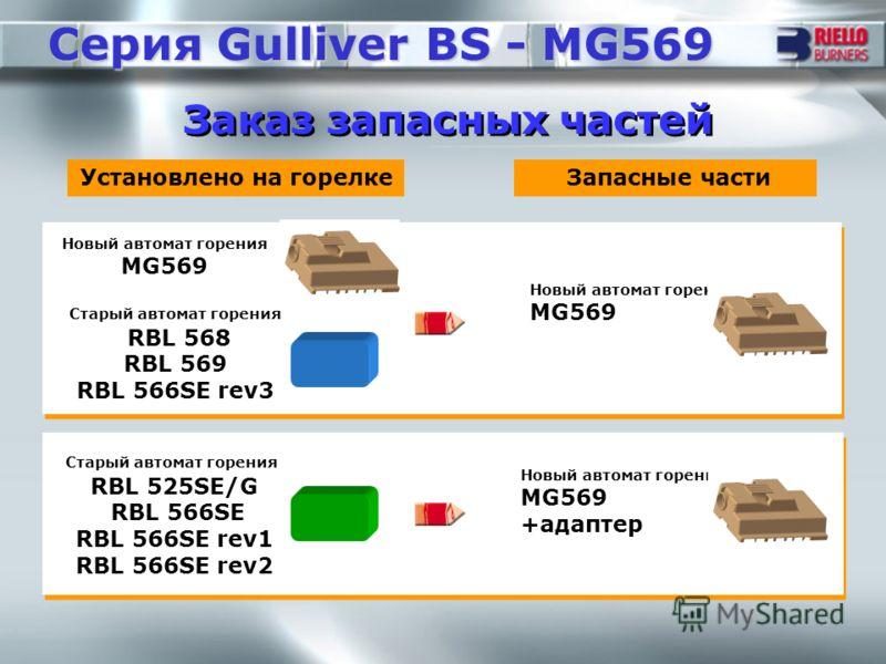 Заказ запасных частей Серия Gulliver BS - MG569 Установлено на горелке Новый автомат горения MG569 Запасные части Новый автомат горения MG569 Старый автомат горения RBL 568 RBL 569 RBL 566SE rev3 Старый автомат горения RBL 525SE/G RBL 566SE RBL 566SE