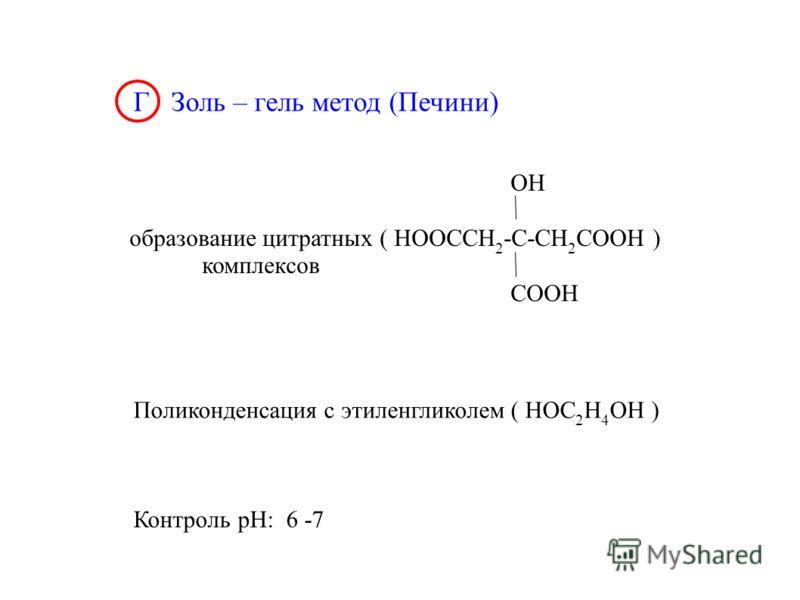Г Золь – гель метод (Печини) OH образование цитратных ( HOOCCH 2 -C-CH 2 COOH ) комплексов COOH Поликонденсация с этиленгликолем ( HOC 2 H 4 OH ) Контроль рН: 6 -7