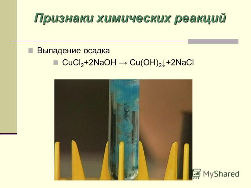 Выпадение осадка CuCl 2 +2NaOH Cu(OH) 2+2NaCl Признаки химических реакций