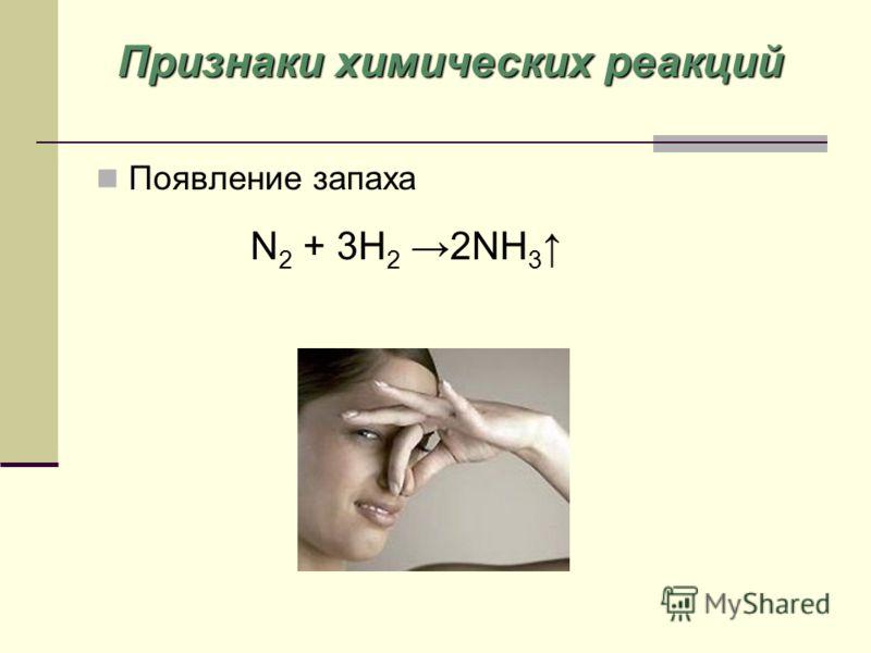 Появление запаха N 2 + 3H 2 2NH 3 Признаки химических реакций