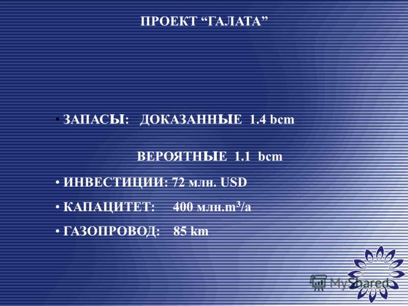 ПРОЕКТ ГАЛАТА ЗАПАС ы : ДОКАЗАНН ы Е 1.4 bcm ВЕРОЯТН ы Е 1.1 bcm ИНВЕСТИЦИИ: 72 млн. USD КАПАЦИТЕТ: 400 млн.m 3 /a ГАЗОПРОВОД: 85 km