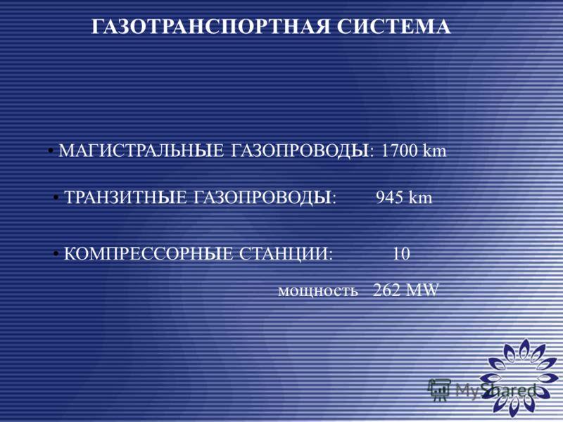 ГАЗОТРАНСПОРТНАЯ СИСТЕМА МАГИСТРАЛЬН ы Е ГАЗОПРОВОД ы : 1700 km ТРАНЗИТН ы Е ГАЗОПРОВОД ы : 945 km КОМПРЕССОРН ы Е СТАНЦИИ: 10 мощность 262 MW