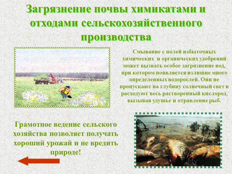 Загрязнение почвы химикатами и отходами сельскохозяйственного производства Смывание с полей избыточных химических и органических удобрений может вызвать особое загрязнение вод, при котором появляется излишне много определенных водорослей. Они не проп