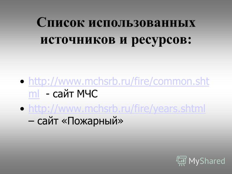 Список использованных источников и ресурсов: http://www.mchsrb.ru/fire/common.sht ml - сайт МЧСhttp://www.mchsrb.ru/fire/common.sht ml http://www.mchsrb.ru/fire/years.shtml – сайт «Пожарный»http://www.mchsrb.ru/fire/years.shtml
