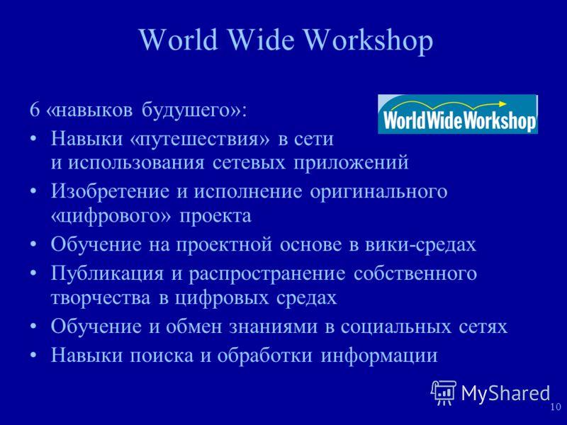 10 World Wide Workshop 6 «навыков будушего»: Навыки «путешествия» в сети и использования сетевых приложений Изобретение и исполнение оригинального «цифрового» проекта Обучение на проектной основе в вики-средах Публикация и распространение собственног