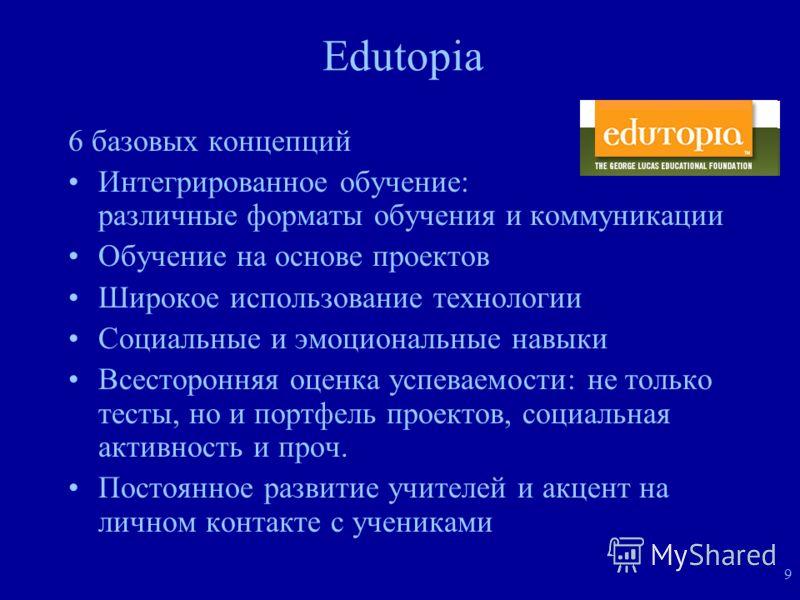 9 Edutopia 6 базовых концепций Интегрированное обучение: различные форматы обучения и коммуникации Обучение на основе проектов Широкое использование технологии Социальные и эмоциональные навыки Всесторонняя оценка успеваемости: не только тесты, но и