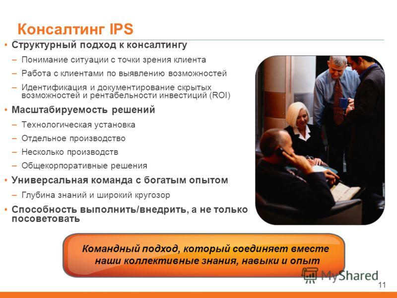 11 Командный подход, который соединяет вместе наши коллективные знания, навыки и опыт 11 Консалтинг IPS Структурный подход к консалтингу –Понимание ситуации с точки зрения клиента –Работа с клиентами по выявлению возможностей –Идентификация и докумен