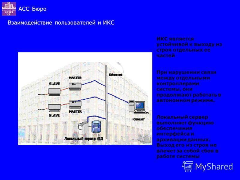 Взаимодействие пользователей и ИКС АСС-Бюро ИКС является устойчивой к выходу из строя отдельных ее частей При нарушении связи между отдельными контроллерами системы, они продолжают работать в автономном режиме. Локальный сервер выполняет функцию обес