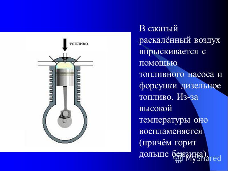 В сжатый раскалённый воздух впрыскивается с помощью топливного насоса и форсунки дизельное топливо. Из-за высокой температуры оно воспламеняется (причём горит дольше бензина).