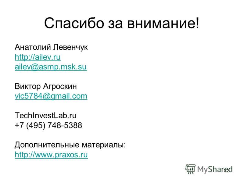 32 Спасибо за внимание! Анатолий Левенчук http://ailev.ru ailev@asmp.msk.su Виктор Агроскин vic5784@gmail.com TechInvestLab.ru +7 (495) 748-5388 Дополнительные материалы: http://www.praxos.ru