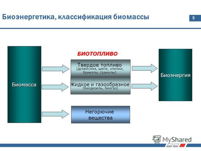 5 Биоэнергетика, классификация биомассы Биомасса Твердое топливо (древесина, щепа, опилки, брикеты, гранулы) Жидкое и газообразное (биодизель, биогаз) Биоэнергия Негорючие вещества БИОТОПЛИВО