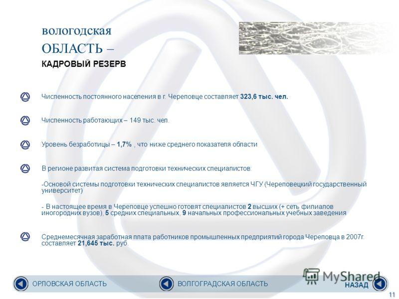 вологодская ОБЛАСТЬ – КАДРОВЫЙ РЕЗЕРВ Численность постоянного населения в г. Череповце составляет 323,6 тыс. чел. Численность работающих – 149 тыс. чел. Уровень безработицы – 1,7%, что ниже среднего показателя области В регионе развитая система подго