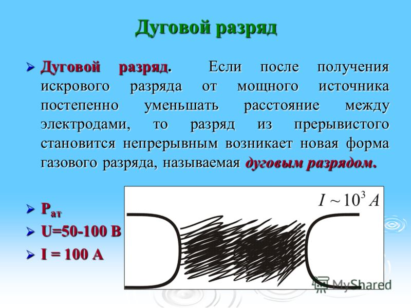 Дуговой разряд Дуговой разряд. Если после получения искрового разряда от мощного источника постепенно уменьшать расстояние между электродами, то разряд из прерывистого становится непрерывным возникает новая форма газового разряда, называемая дуговым