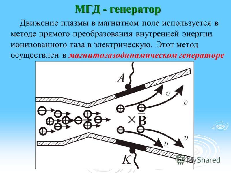 МГД - генератор Движение плазмы в магнитном поле используется в методе прямого преобразования внутренней энергии ионизованного газа в электрическую. Этот метод осуществлен в магнитогазодинамическом генераторе