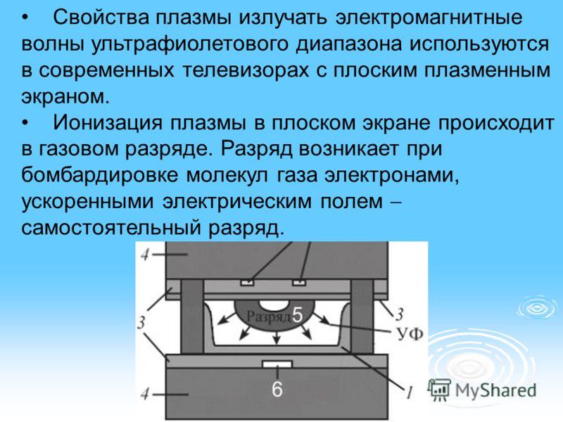 Свойства плазмы излучать электромагнитные волны ультрафиолетового диапазона используются в современных телевизорах с плоским плазменным экраном. Ионизация плазмы в плоском экране происходит в газовом разряде. Разряд возникает при бомбардировке молеку