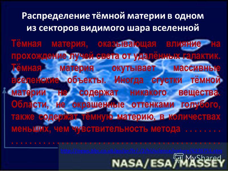 Распределение тёмной материи в одном из секторов видимого шара вселенной http://news.bbc.co.uk/go/pr/fr/-/2/hi/science/nature/6235751.stm Тёмная материя, оказывающая влияние на прохождение лучей света от удалённых галактик. Тёмная материя окутывает м