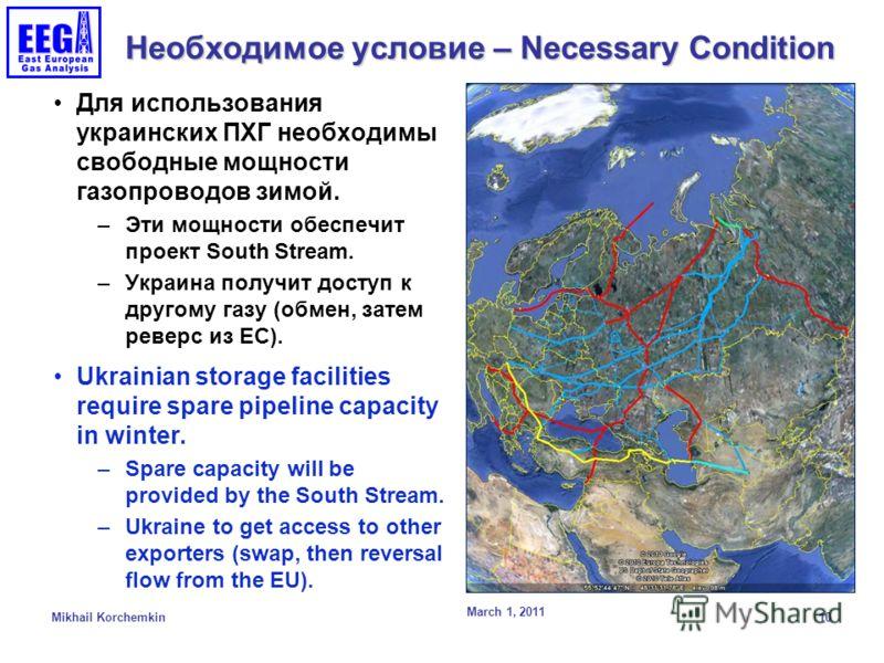 Необходимое условие – Necessary Condition Для использования украинских ПХГ необходимы свободные мощности газопроводов зимой. –Эти мощности обеспечит проект South Stream. –Украина получит доступ к другому газу (обмен, затем реверс из ЕС). Ukrainian st