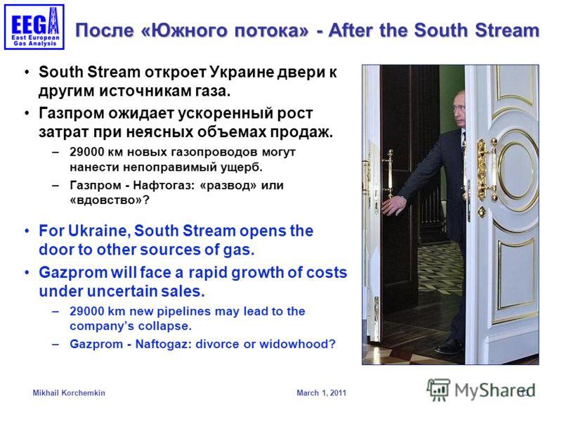 После «Южного потока» - After the South Stream South Stream откроет Украине двери к другим источникам газа. Газпром ожидает ускоренный рост затрат при неясных объемах продаж. –29000 км новых газопроводов могут нанести непоправимый ущерб. –Газпром - Н